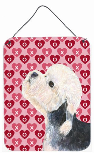 12x16 Carolines Treasures SS4503DS1216 Dandie Dinmont Terrier Hearts Love and Valentines Day Wall Door Hanging Prints Multicolor
