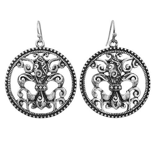 Unique Open Fleur de lis Silver Tone Dangle Earrings (Round Swirl)