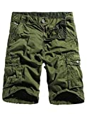 WenVen Men's Cargo Shorts Vintage Cotton Twill Loose Fit Pants(Army Green,34)