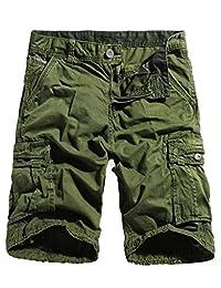 WenVen Men's Cargo Shorts Loose Fit Cotton Twill Summer Pants