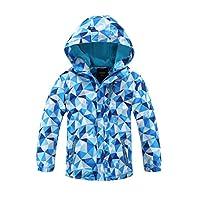 Hiheart Girls Boys Waterproof Fleece Lined Jacket Hood Windproof Rain Coat Blue 5/6