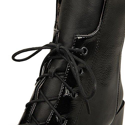 Boots top PU AgooLar Lace up Solid Black Heels Women's Kitten Low 8nzgARH8
