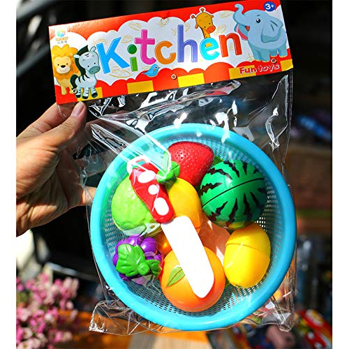 Studyset Kids Simulate Fruits Vegetables Cutting Set with Basket Play House Puzzle Toy