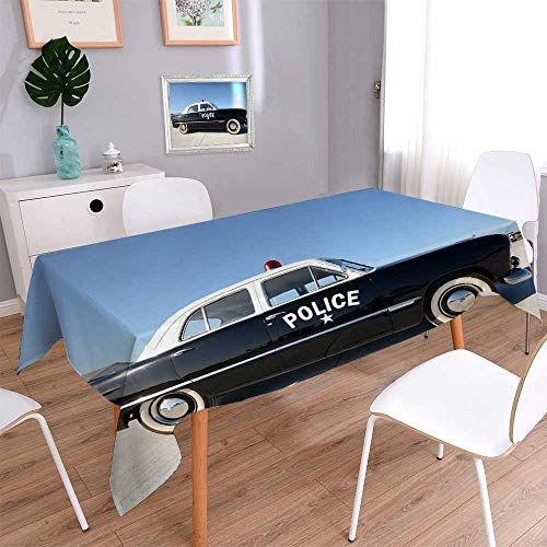 PINAFORE HOME Printed Fabric Tablecloth Silver Mercedes Benz Euro Taxi Business Class Motor car at The City Street Kitchen Decoration washable/W50 x L50 Inch ()