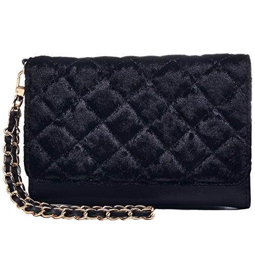 Dream Control Quilted Velvet Cellphone Wristlet Wallet Clutch Trifold Purse Black Black Tri Fold Handbag