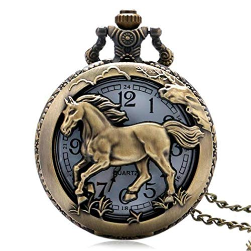 Horse Carved Pendant Necklace Quartz Pocket Watch Pocket Watches ()