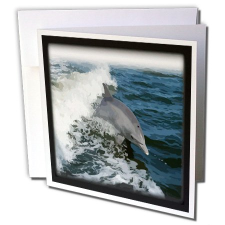 Dolphin Card - 3dRose Dolphin Leaping Greeting Cards, Set