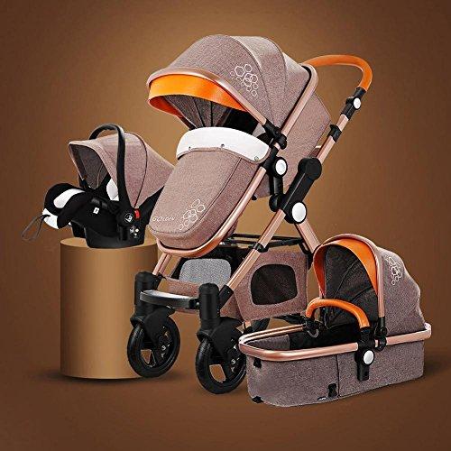 RoseSummer Baby Stroller 3 in 1 Carriage High Landscape Infant Travel Car Foldable Pram Pushchair (Khaki)