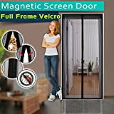 Magnetic Screen Door ,Full Frame Velcro,3 Sizes Avaliable to Fits Door Up To 46'x82',36'x98',36'x82',Instant Bug Mesh,Close Automatically Tightly Hands Free Black