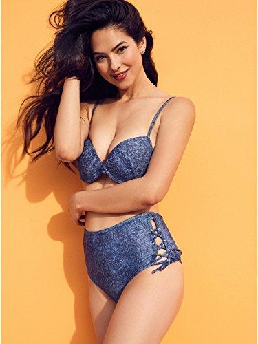 GUESS Women's High Waist Culotte Bikini Bottom, Blue Denim, S -