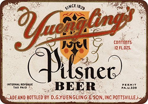- 1934 Yuengling's Pilsner Beer Vintage Look Reproduction Metal Tin Sign Outdoor Decor Aluminum Sign for Garage Driveway