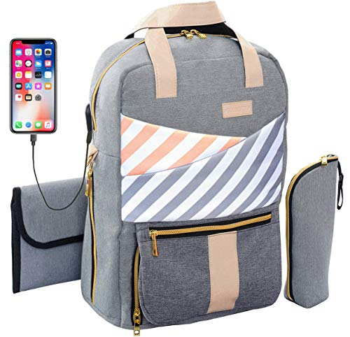 Baby Diaper Bag Backpack With Usb Charging Port For Girls Boys With Changing Pad