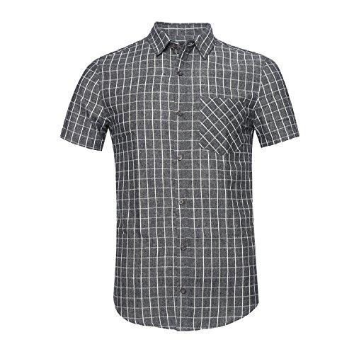 [해외]OPO 남성 캐주얼 반소매 단추 셔츠 다운 격자 무늬 셔츠면 100 %/SOOPO Men`s Casual Short Sleeve Button Down Shirts Bar Plaid Shirt 100% Cotton
