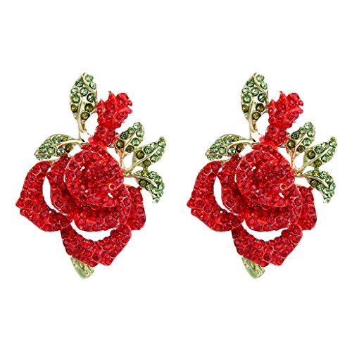EVER FAITH Womens Austrian Crystal Romantic Rose Flower Leaves Stud Earrings