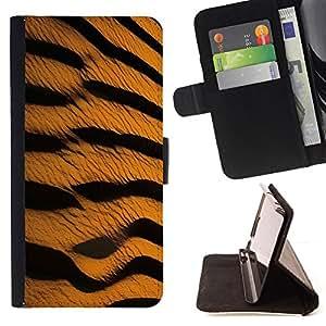 BullDog Case - FOR/Sony Xperia M2 / - / tiger pattern wild safari art nature cat /- Monedero de cuero de la PU Llevar cubierta de la caja con el ID Credit Card Slots Flip funda de cuer