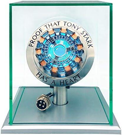 1: 1 Iron Man Arc Reactor MK1, Produit Fini USB Bricolage, Induction de Vibration, lumière LED, Interface USB, Pas d'assemblage, Pas de télécommande, Cadeaux Jouets (avec vitrine)