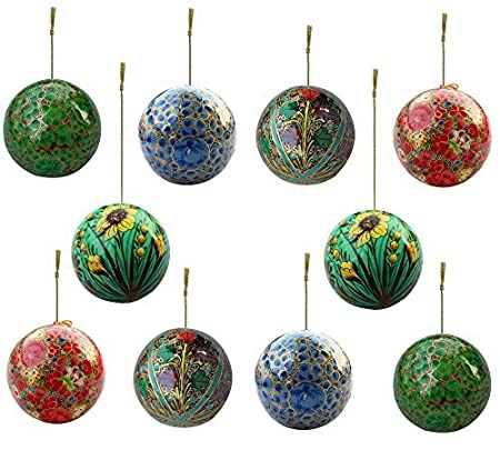 Set Of 10 Paper Mache Indian Wooden Christmas Decorations Baubles Balls  Tree Ornaments   Xmas Decorations