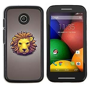 Caucho caso de Shell duro de la cubierta de accesorios de protección BY RAYDREAMMM - Motorola Moto E - Arte Dibujo del león Cara Mane amarillo del gato grande