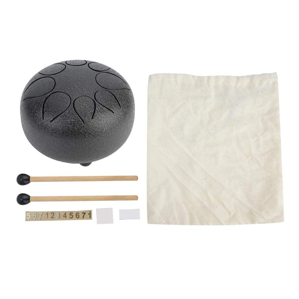 Perfect Quality Stainless Steel Handpan Tongue Drum 5 Inch Percussion,FREE Bag & Mallets, Black or Gold.(black)