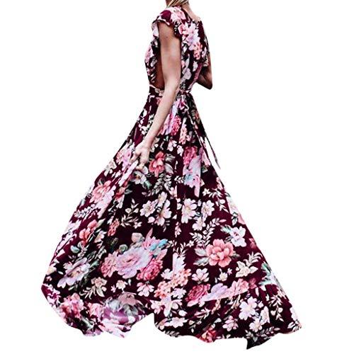 New!Qingell Women Sling Dress Cross Elegant Evening Beach Slim Hollow Print Dress Vintage Formal Style Dress (XL, Red)