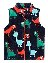 Happy Cherry Baby Boys Fleece Vest Cartoon Dinosaur Zipper UP Waistcoat 1-6T