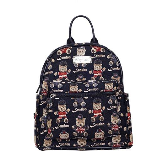 SIGNARE Mochila pequeña para las mujeres todos los días en el diseño de la tapicería Londres Urso