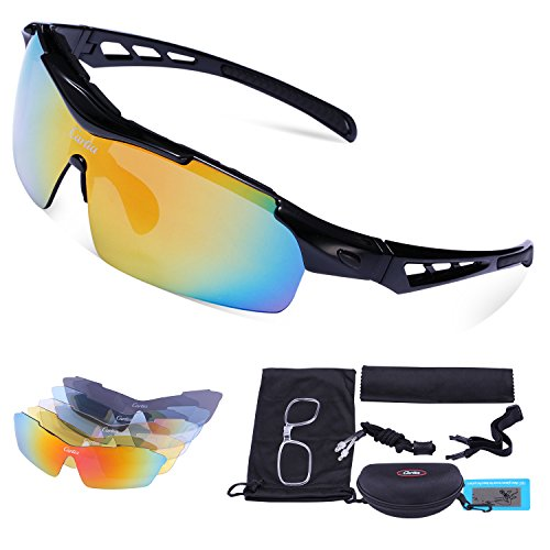 Sport Sunglasses - Carfia Polarized Sunglasses for Men and Women with 5 Interchangeable Lenses, Cycling Running Fishing Hiking Skiing Golf, TR90 Unbreakable Frame Ultra - Sunglasses Uk Polarized