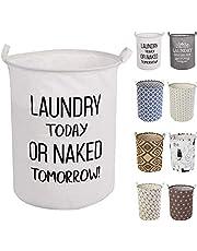 LessMo 50 cm tvättkorg, hopfällbar förvaringskorg med enkla bärhandtag, vattentät rund bomullslakan, för babyprodukter, leksaker, sovrumskorg