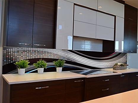 dalinda® Pizarra de Cocina con diseño Black Waves KR115 ...