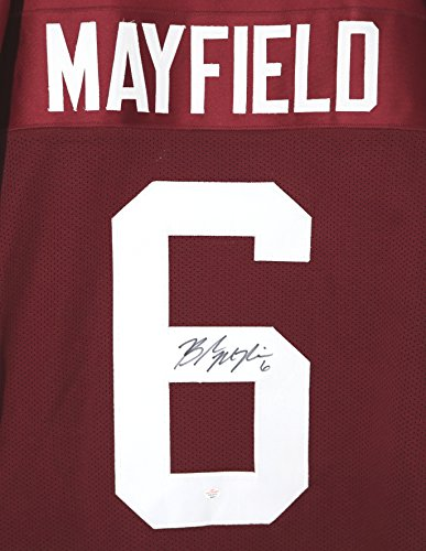 Baker Mayfield Oklahoma Sooners Signed Autographed Crimson #6 Custom Jersey PAAS COA