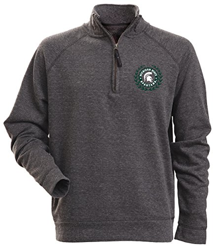 - Camp David NCAA Michigan State Spartans Men's Rockhill Textured Heather 1/4 Zip Fleece Pullover, XX-Large, Charcoal Heather