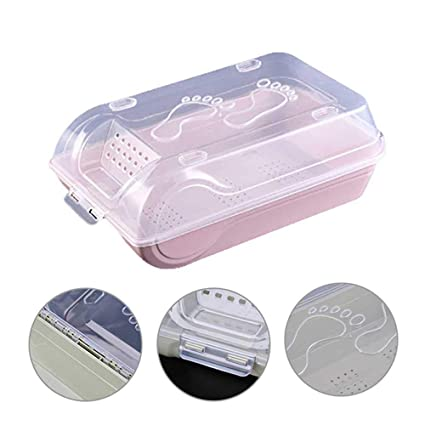KOBWA Caja de Almacenamiento de plástico Transparente apilable para Zapatos, Multiusos, Transparente