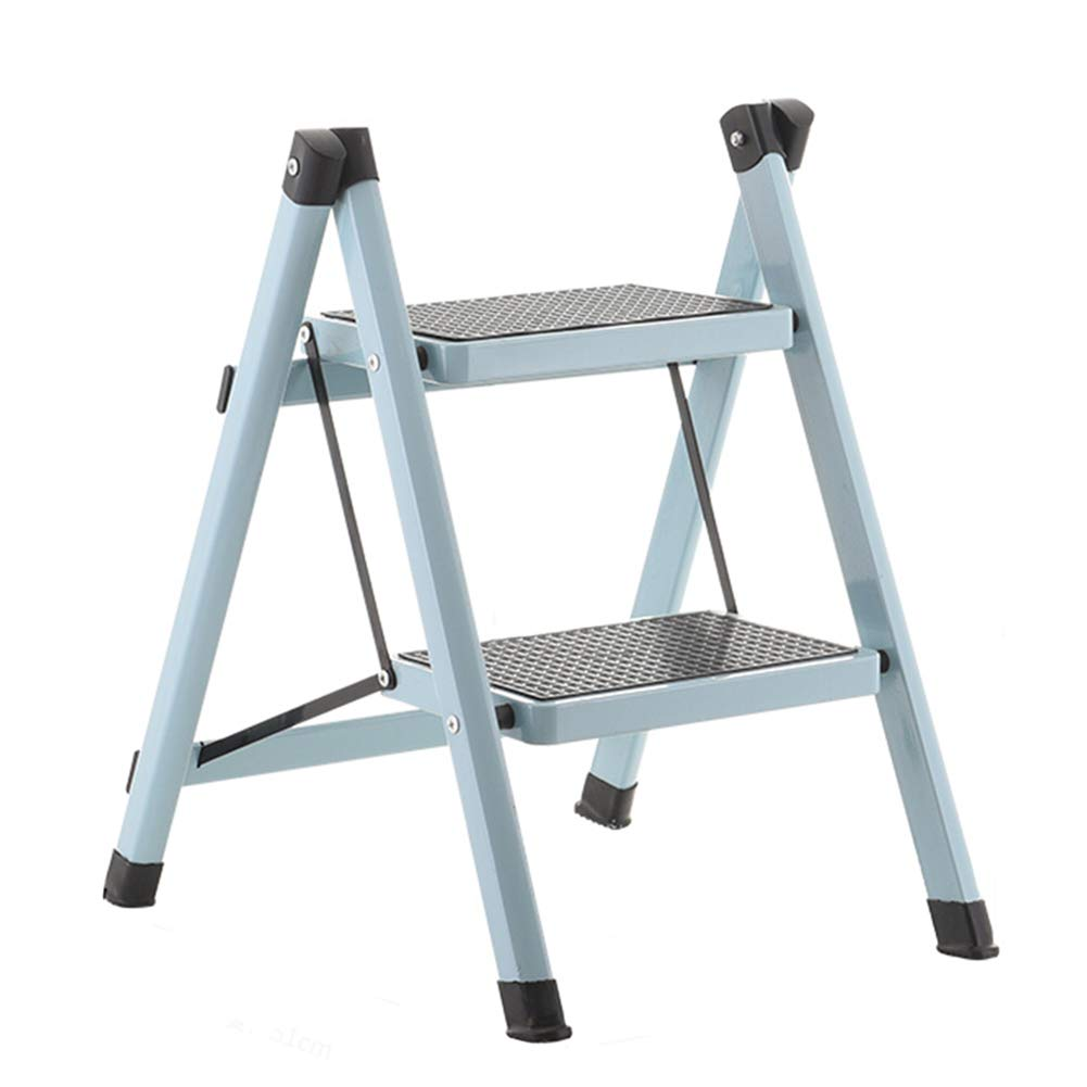 Light bluee ZHAOYONGLI Ladder Stool Folding Stool Step Stool Ladder Foldable Ladder High Stool Portable Stool Adjustable Foot Rest Collapsible Household Shelf Creative Solid Durable Long Lasting (color   White)