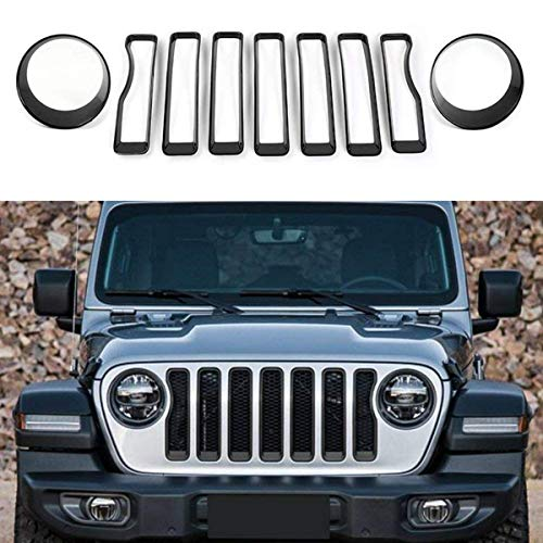 JeCar Front Grill Inserts & Headlight Cover Kit for 2018-2019 Jeep Wrangler JL & Unlimited (Best Grill Covers 2019)