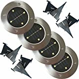 Solar Lawn Lights Path Uplight 4 LED Waterproof In-Ground Light for Outdoor Gardern Bed Pathway, Walkway, Back Yard Grassland, Deck, Patio, Area Landscape White Lighting Solar Powered Lamps 4 PACK