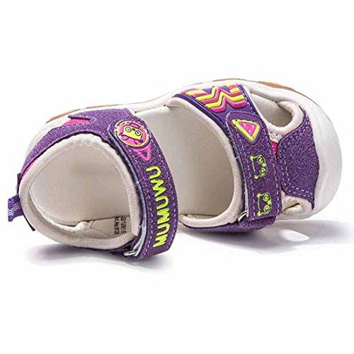 Scothen Playa de verano cerrado sandalias zapatos para caminar al aire libre ultraligero calzado transpirable plana unisex niños muchachas ocio zapatos de trekking para caminar/sandalias de la mitad Purple