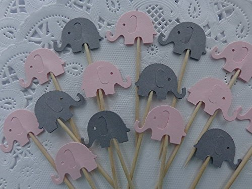 Light Pink and Grey Elephant Cupcake Toppers - Food Picks - Pink and Gray Elephants - Party Picks - Baby Shower Appetizer Picks (Set of 24) ()