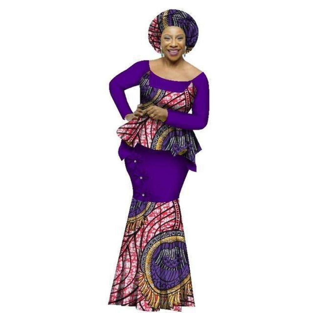 African Style Top and Long Skirt Women Cotton Print Kitenge Ankara O-Neck Bazin