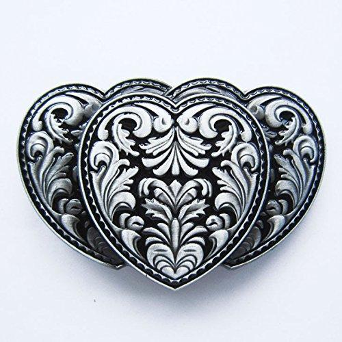 Black Triple Hearts Western Belt (Heart Cool Belt Buckle)