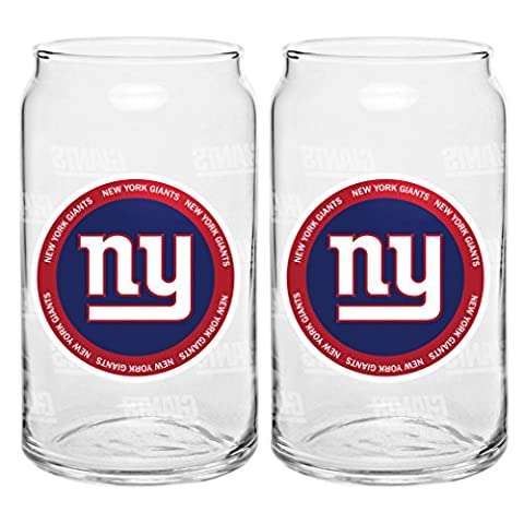 NFL New York Giants Ring of Honor Glass Can, 16-ounce, 2-Pack