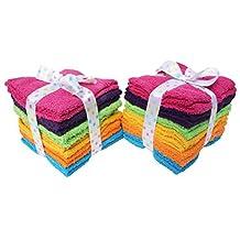J & M Home Fashions 24-Piece Solid Bright Washcloth Set, 12 by 12-Inch