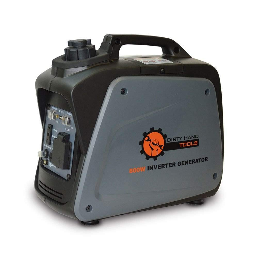 Dirty Hand Tools 104609 800 Watt 5.8 Amp Gas Powered Inverter Generator Portable Power Supply EPA CARB Certified 7 Hour Run Time 1-120V AC Outlets, 1-12V DC Outlet, 1-USB Port