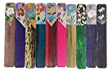 10Pcs Exotic Coloured Drawing Thailand Flower Style Handmade Teakwood Bookmark For Kids School Study Decoration Souvenirs Business Christmas Birthday Gift