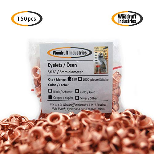 Woodruff Industries 150 Pieces Eyelet Copper Grommet Kit Durable Iron Metal Nickel Plated 5 mm Hole Clothes and Leather Eyelet for Arts and Crafts Scrapbook Shoes Grommets