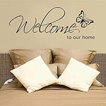 Amazon.com: Wall Art - Diy Welcome To Our Home Removable Art Vinyl ...