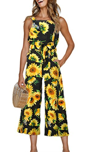 Dongpai Womens Floral Strap Sleeveless Tie Waist Pockets Wide Leg Pants Jumpsuits Rompers