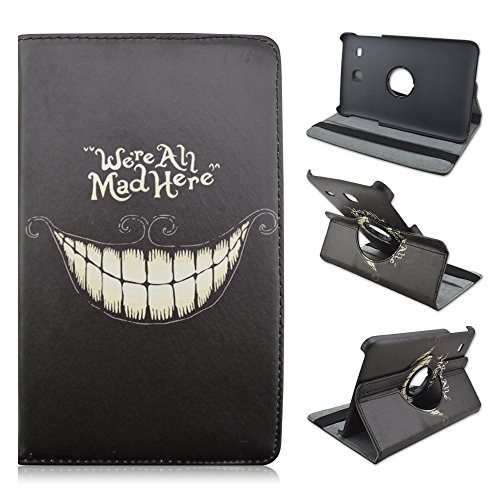 Samsung Galaxy Tab E 8.0-Inch SM-T377 Case - Cute Cartoon 360 Degree Rotating PU Leather Case For Samsung Galaxy Tab E 8.0 Inch SM-T377 T377 Tablet,We're All Mad Here