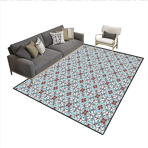(Carpet,Ethnic Antique Floral Pattern Italian Majolica Style Ornate Illustration,Non Slip Rug Pad,Pale Blue Red Green 5'x8')