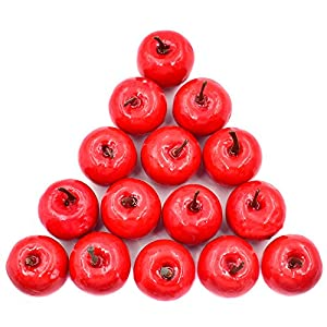 Hagao Artificial Small Apples Simulation Fruit Fake Apple Lifelike for Home Kitchen Party Festival Decoration 20 pcs 2