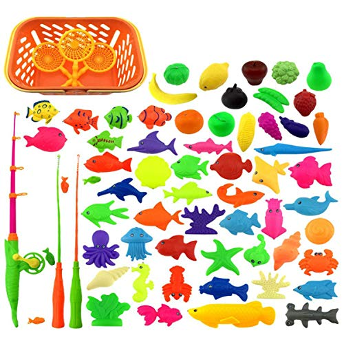 65 Pieces Magnetic Fishing Toys Set Baby Bath Toys, Waterproof Floating Fishing Play Set in Bathtub Pool Bathtime Learning Education Toys For Boys Girls Toddlers, Fishing Game For Kids Random Styles